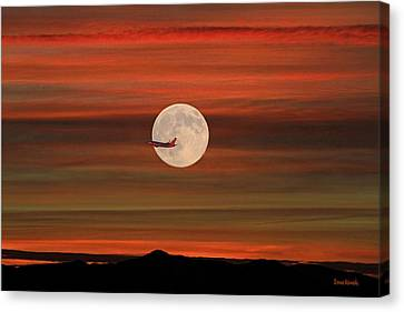 Sunset Flight With Full Moon Canvas Print