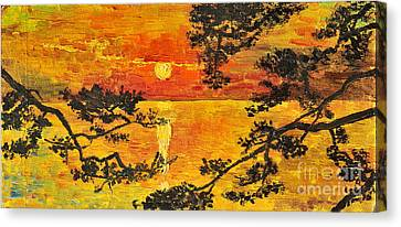 Canvas Print featuring the painting Sunset For My Parents by Teresa Wegrzyn