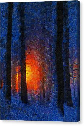 Sunset Forest Winter Canvas Print by Georgi Dimitrov