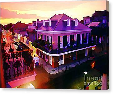 Sunset From The Balcony In The French Quarter Of New Orleans Canvas Print by John Malone
