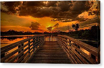 Sunset From The Dock Canvas Print by Don Durfee