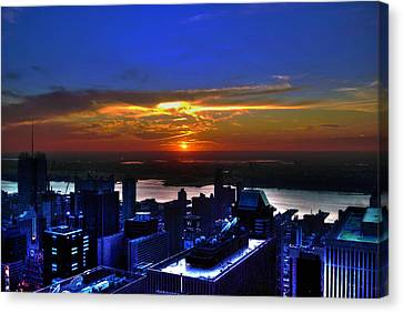 Sunset From The Empire State Building Canvas Print by Randy Aveille