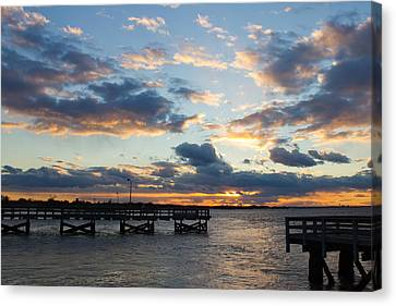 Canvas Print featuring the photograph Sunset From The Fishing Piers by Jose Oquendo