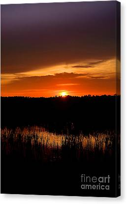 Canvas Print featuring the photograph Sunset From The Huntington Beach Causeway by Kathy Baccari