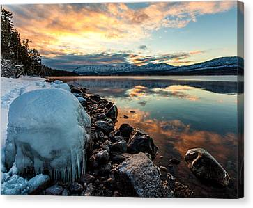 Canvas Print featuring the photograph Sunset Frozen by Aaron Aldrich