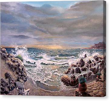 Canvas Print featuring the painting Sunset by Geni Gorani