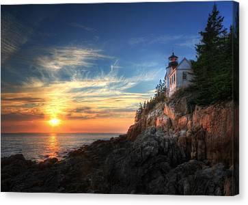Sunset Glow At Bass Harbor Canvas Print by Lori Deiter