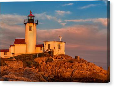 Sunset Glow On The Eastern Point Lighthouse Canvas Print by Thomas Schoeller