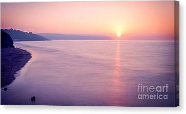 Summer Sunset Whitby Canvas Print by Janet Burdon