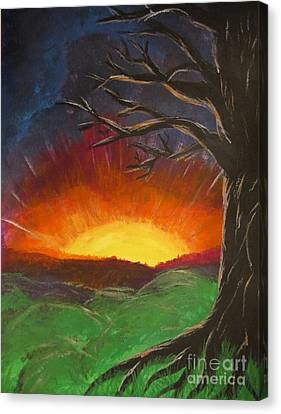 Sunset Glowing Beyond The Bare Tree Landscape Painting Canvas Print by Adri Turner