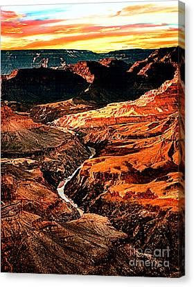 Nadine Canvas Print - Sunset Grand Canyon West Rim by Bob and Nadine Johnston