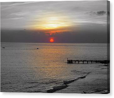 Canvas Print featuring the photograph Sunset  by Haleh Mahbod
