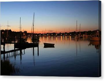 Row Boat Canvas Print - Sunset Harbor In Barrington by Heidi Piccerelli
