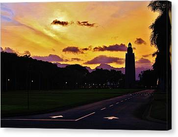 Sunset Hickam Air Force Base Freedom Tower Canvas Print
