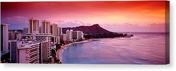 Sunset Honolulu Oahu Hi Usa Canvas Print by Panoramic Images