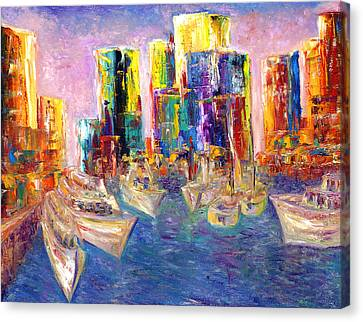 Sunset In A Harbor Canvas Print by Helen Kagan