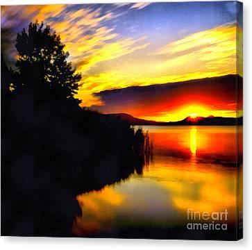 Sunset In Balaton Lake Canvas Print by Odon Czintos