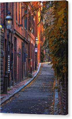 New England Autumn Canvas Print - Sunset In Beacon Hill by Joann Vitali