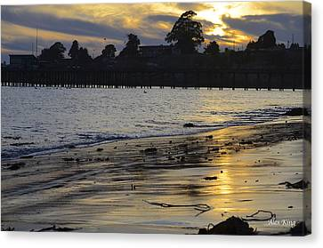 Sunset In Capitola Canvas Print by Alex King