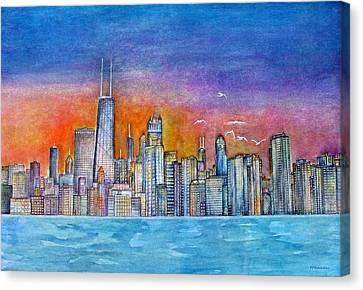Sunset In Chi Town Canvas Print