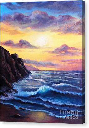 Canvas Print featuring the painting Sunset In Colors by Bozena Zajaczkowska
