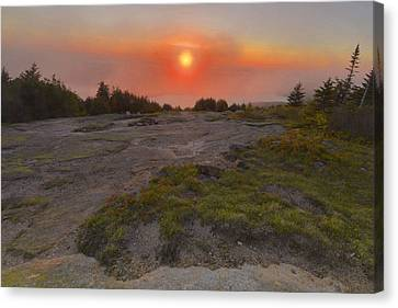 Maine Mountains Canvas Print - Sunset In Fog by Stephen  Vecchiotti