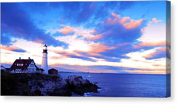 Sunset In Fork Williams Lighthouse Park Portland Maine State Canvas Print by Paul Ge