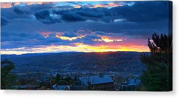 Sunset In Ithaca New York Panoramic Photography Canvas Print by Paul Ge