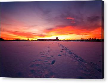 Canvas Print - Sunset In Karlstad Sweden. by Micael  Carlsson
