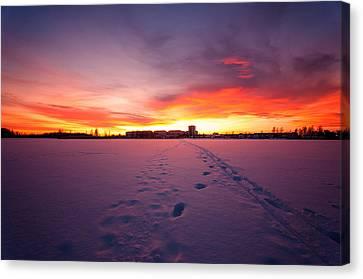 Sunset In Karlstad Sweden. Canvas Print by Micael  Carlsson