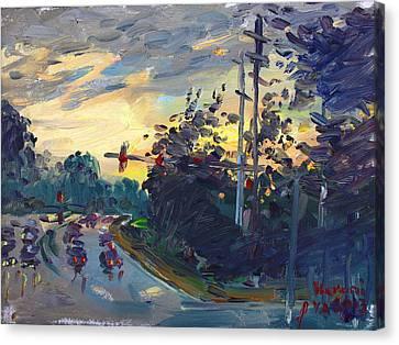 Norfolk Canvas Print - Sunset In Military Highway Norfolk Va by Ylli Haruni