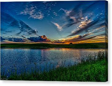 Sunset In Montana Canvas Print by Jeanie Eaton