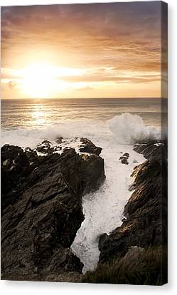 Sunset In Newquay Canvas Print by Francesco Emanuele Carucci