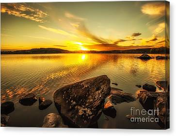 Canvas Print featuring the photograph Sunset In Our Little Village  by Rose-Maries Pictures