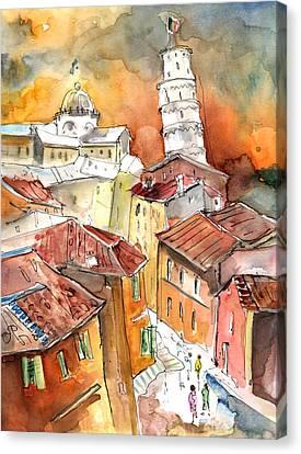 Sunset In Pisa Canvas Print by Miki De Goodaboom