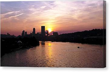 Sunset In Pittsburgh Canvas Print by Joyce  Wasser