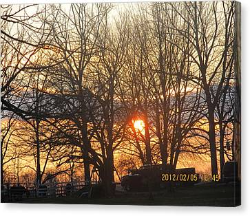 Sunset In Progress Stage Three Canvas Print by Tina M Wenger