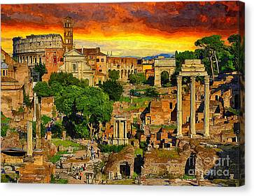 Archaeology Canvas Print - Sunset In Rome by Stefano Senise