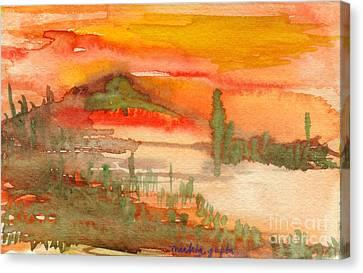 Canvas Print featuring the painting Sunset In Saguaro Desert  by Mukta Gupta