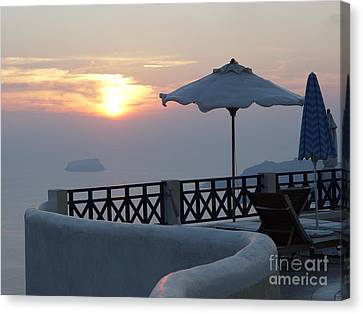 Canvas Print featuring the photograph Sunset In Santorini by Nancy Bradley