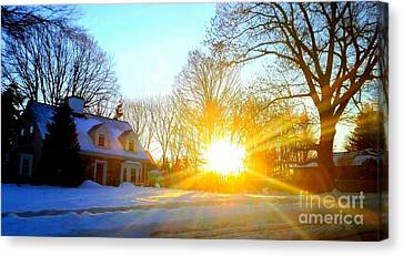 Snowy Sunset 2 Canvas Print by Rose Wang