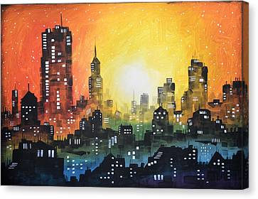 Canvas Print featuring the painting Sunset In The City by Amy Giacomelli