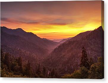 Sunset In The Mountains Canvas Print by Andrew Soundarajan