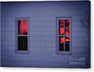 Sunset In The Windows Canvas Print by Cheryl Baxter