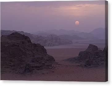 Sunset In Wadi Rum Jordan Canvas Print by Alison Buttigieg