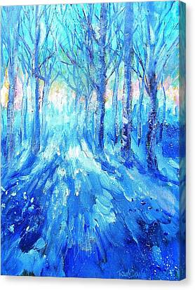 Sunset In A Winter Wood  Canvas Print by Trudi Doyle