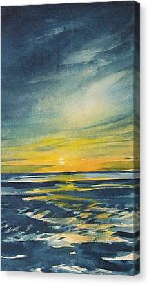 Canvas Print featuring the painting Sunset by Jane See