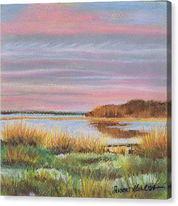Canvas Print featuring the painting Sunset Jessups Neck by Susan Herbst