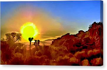 Sunset Joshua Tree National Park V2 Canvas Print by Bob and Nadine Johnston