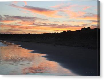 Canvas Print featuring the photograph Sunset Kissing Shore by Amanda Holmes Tzafrir